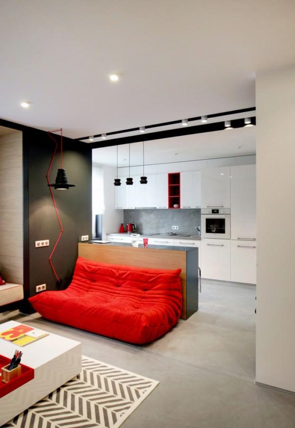 togo-sofa-red-against-bar