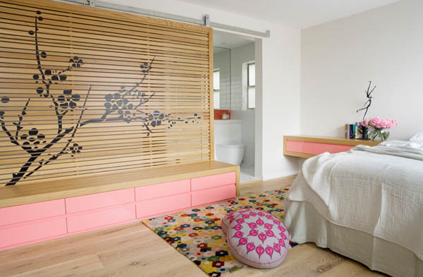white-and-pink-bedroom-with-asian-floral-dividing-wall